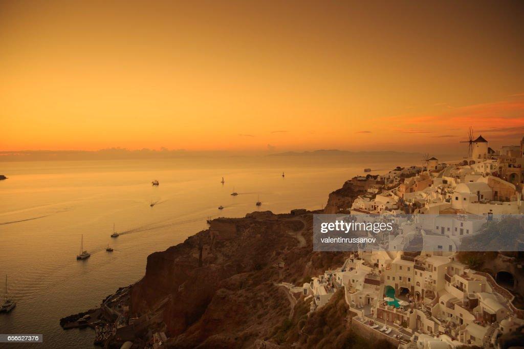 Santorini at sunset : Stock Photo