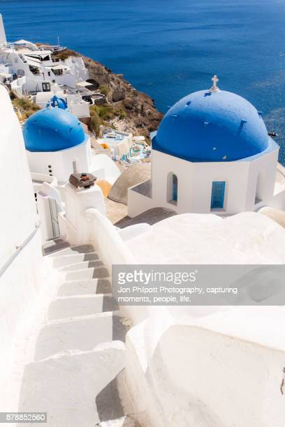Santorini Blue Dome Church with steps