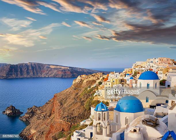 Santorini blue dome of church in Oia on Greece