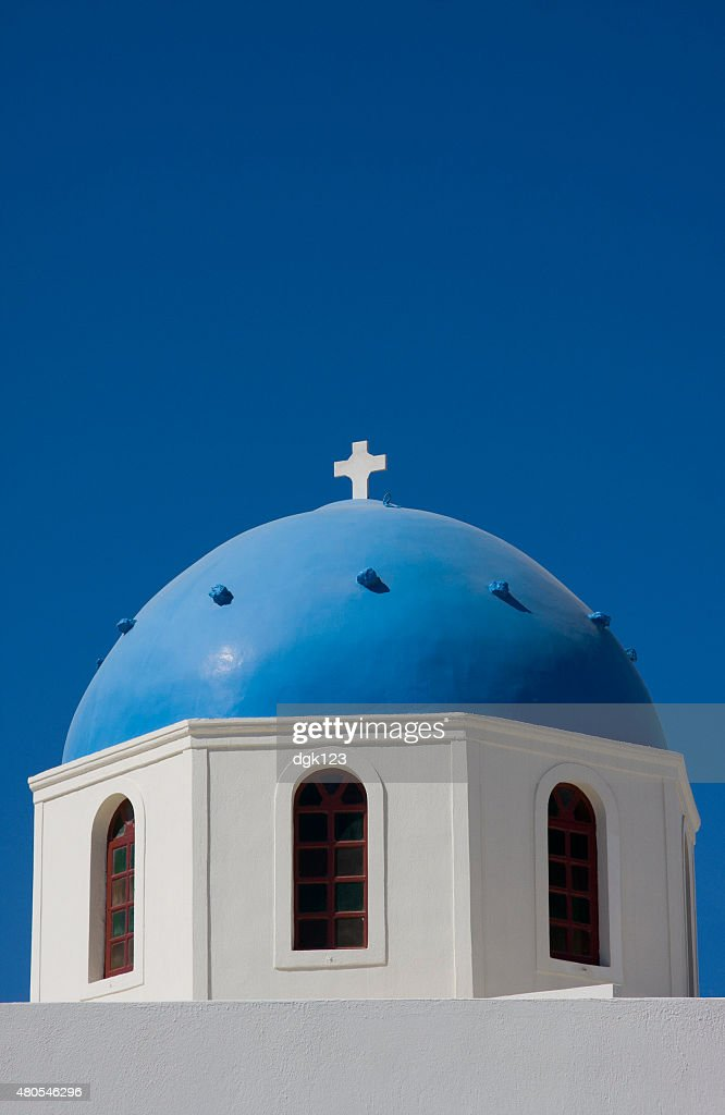 Santorini Church Dome, Greece : Stock Photo