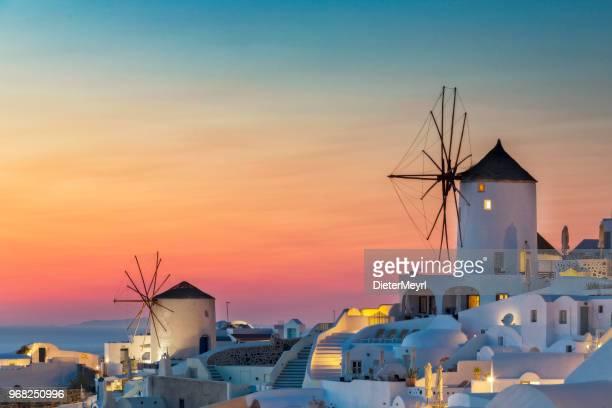 night view of santorini island, oia - greece - oia santorini foto e immagini stock