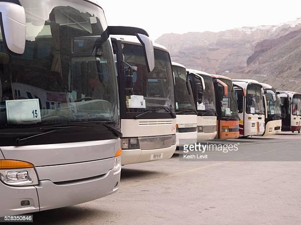 Santorini, Greece; Tour buses lined up