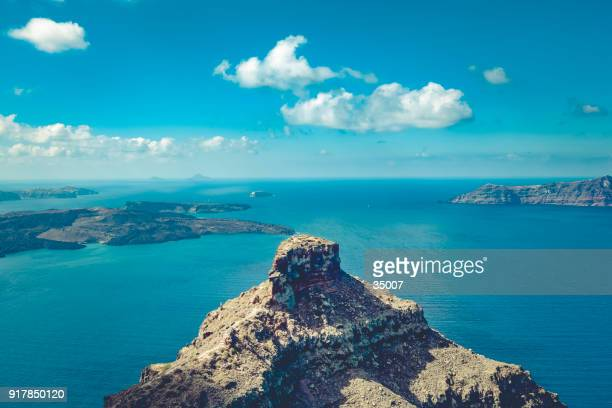 santorini island caldera view with skaros rock, the cyclades, greece - greek islands stock pictures, royalty-free photos & images