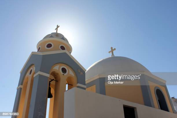 santorini orthodox churches - greek cyclades islands - greek orthodoxy stock pictures, royalty-free photos & images