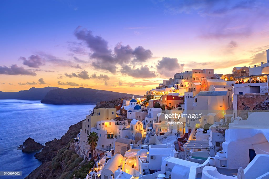 Santorini sunset at dawn village of Oia Greece : Stock Photo