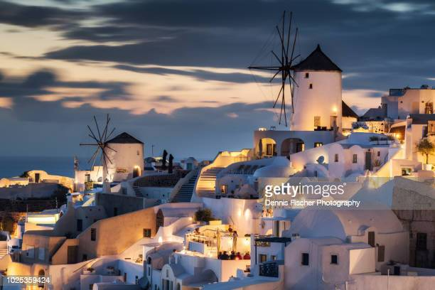 santorini sunset view - griechenland stock-fotos und bilder