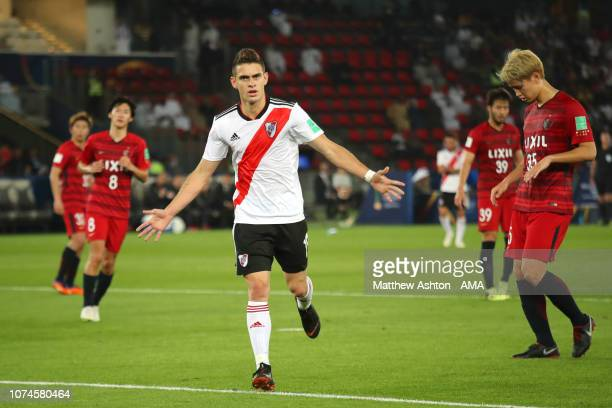 Santos Borre of River Plate celebrates scoring a goal to make it 03 during the FIFA Club World Cup UAE third place match between Kashima Antlers and...