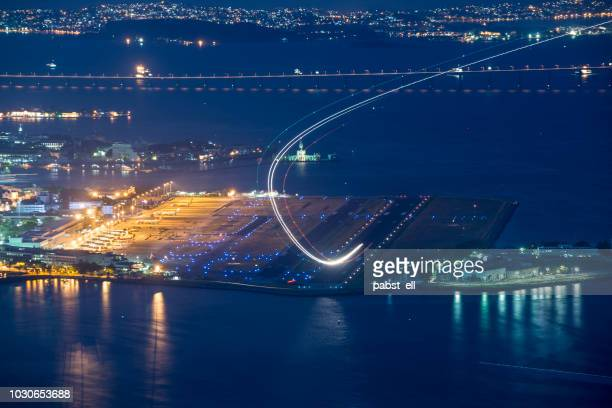 santos dumont airport sdu airplane taking off ponte aérea - taking off activity stock pictures, royalty-free photos & images