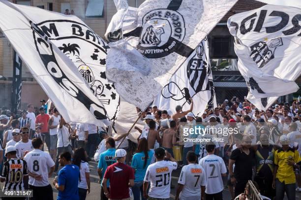 Santos FC fans arrive at Vila Belmiro stadium