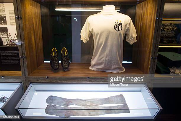 Santos FC jersey is exhibited at Pele Museum on June 20 2014 in Santos Brazil The 4000 square meter complex is located in Santo's old town and its...