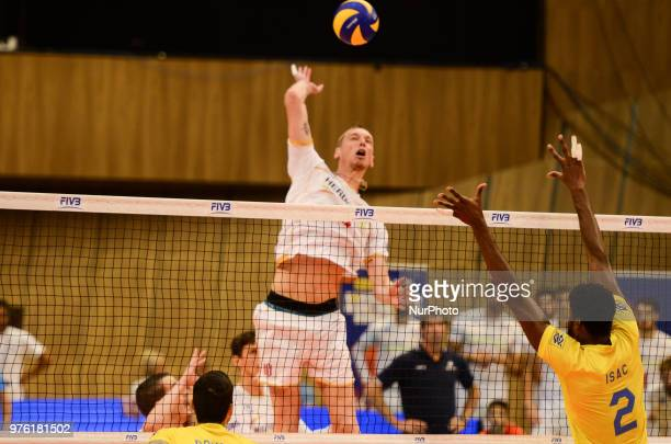 Santos Isac R Brazil against Le Roux kevin L France during Mens Volleyball Nations League VNL match between France and Brazil in Bulgaria at Palace...