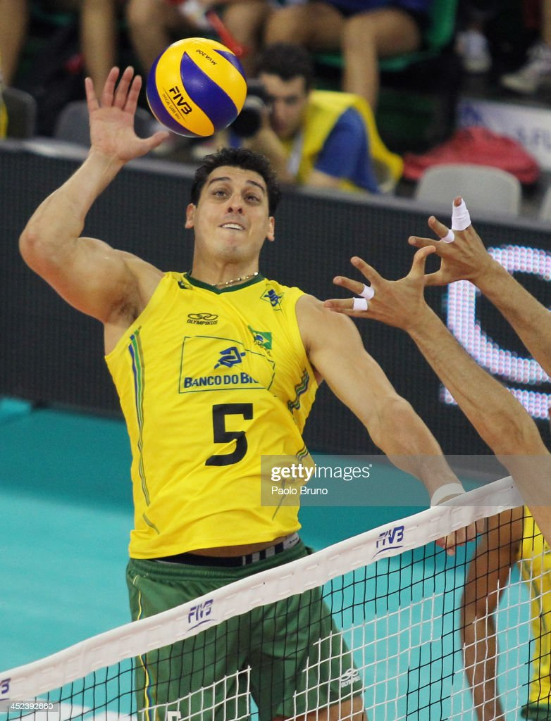 Santos Junior Sidnei Dos of Brazil spikes the ball during the FIVB World League Final Six semifinal match between Italy and Brazil at Mandela Forum on July 19, 2014 in Florence, Italy.