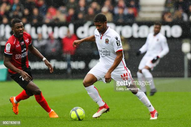 Santos Marlon of Nice during the Ligue 1 match between EA Guingamp and OGC Nice at Stade du Roudourou on March 11 2018 in Guingamp