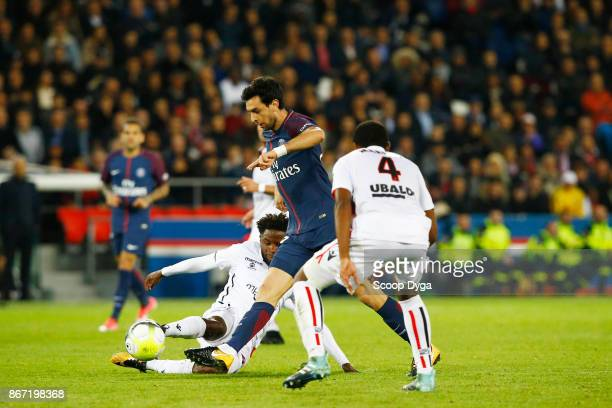Santos Marlon of OGC Niceand Javier Pastore of Paris Saint Germain during the Ligue 1 match between Paris Saint Germain and OGC Nice at Parc des...