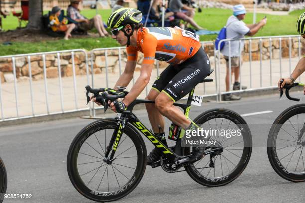 Santos Ochre Leader's Jersey rider Daryl Impey during the final laps of Stage six Be Safe Be Seen MAC at the Santos Tour Down Under on January 21...