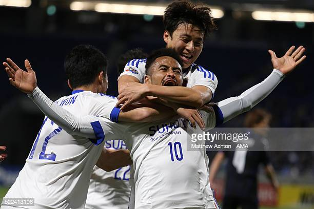 Santos of Suwon Samsung Bluewings celebrates after scoring a goal to make it 0-2 during the AFC Champions League Group G match between Gamba Osaka...