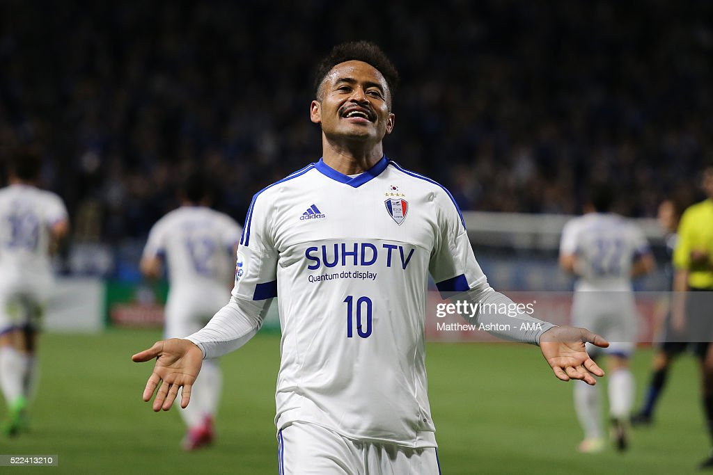 Santos of Suwon Samsung Bluewings celebrates after scoring a goal to make it 0-2 during the AFC Champions League Group G match between Gamba Osaka and Suwon Samsung Bluewings at Suita City Football Stadium on April 19, 2016 in Osaka, Japan.