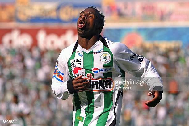 Santos player Christian Benitez celebrates his score goal during their match in the 2009 Clausura tournament the closing stage of the Mexican...