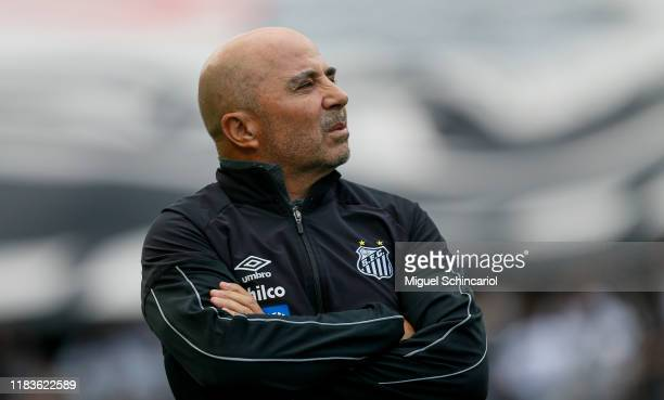 Santos team coach Jorge Sampaoli looks on during a match between Corinthians and Santos for the Brasileirao Series A 2019 at Arena Corinthians on...