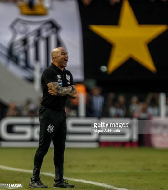 Santos team coach Jorge Sampaoli reacts during a match between Santos and Internacional for the Brasileirao Series A 2019 at Vila Belmiro Stadium on...