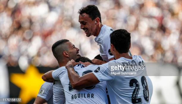 Santos team players celebrates a second goal of Jorge during a match between Santos and Fortaleza for the Brasileirao Series A 2019 at Vila Belmiro...