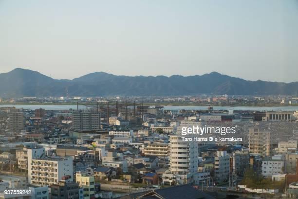 Sanuki Mountains, Yoshino River and cityscape in center of Tokushima city in Tokushima prefecture in Japan