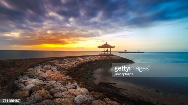 Sanur beach at sunset, Denpasar, Bali, Indonesia