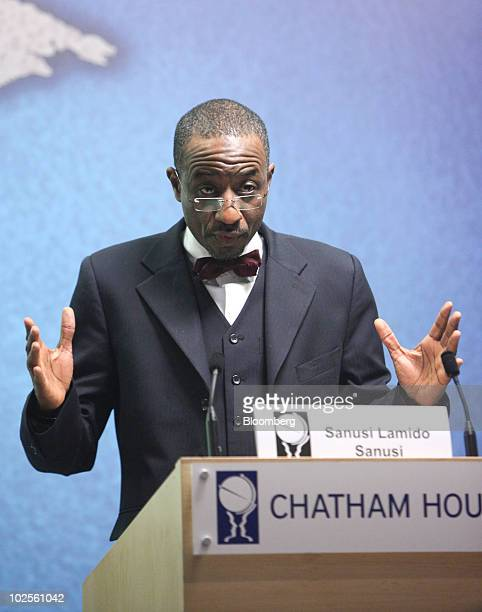 Sanusi Lamido Sanusi Governor of the Central Bank of Nigeria gestures during a speech at the Investing in Emerging and Developing Markets conference...