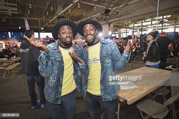"""Sanwone and Santae of the dance duo Reliable Brother attend """"America's Got Talent"""" Season 12 open call auditions at Queens College on January 27,..."""