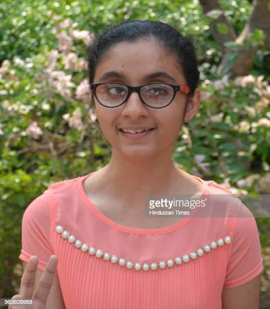 Sanya Gandhi from Uttam School for Girls pose for a picture after emerging as joint countrytopper in speciallyable category in CBSE's class 10th...