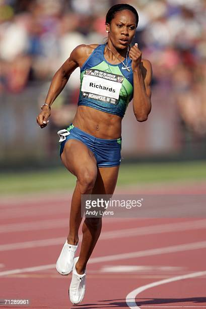 Sanya Richard competes in the women's 400 meter dash on her way to taking first place in the event on the third day of the AT&T USA Outdoor Track and...
