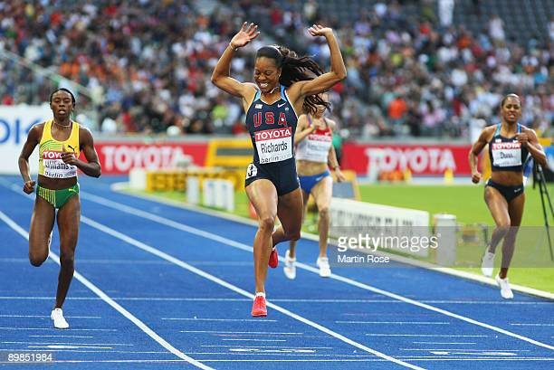 Sanya Richards of United States crosses the line to win the gold medal in the women's 400 Metres Final during day four of the 12th IAAF World...