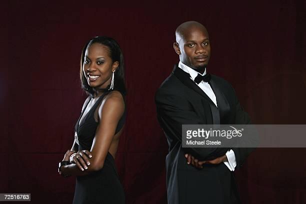 Sanya Richards of USA and Asafa Powell of Jamaica winners of the athletes of the year award during the IAAF World Athletics Gala on November 12, 2006...