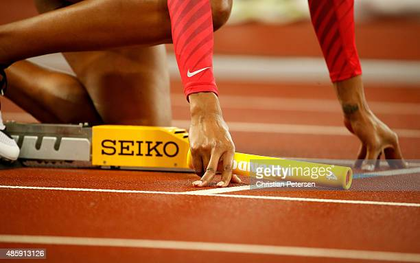 Sanya Richards Ross of United States prepares to start in the Women's 4x400 Relay Final during day nine of the 15th IAAF World Athletics...