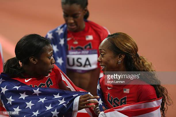 Sanya RichardsRoss DeeDee Trotter and Francena McCorory of the United States celebrate winning gold in the Women's 4 x 400m Relay Final on Day 15 of...