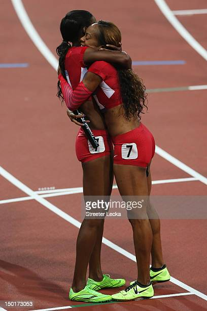 Sanya RichardsRoss hugs DeeDee Trotter of the United States after winning gold in the Women's 4 x 400m Relay Final on Day 15 of the London 2012...