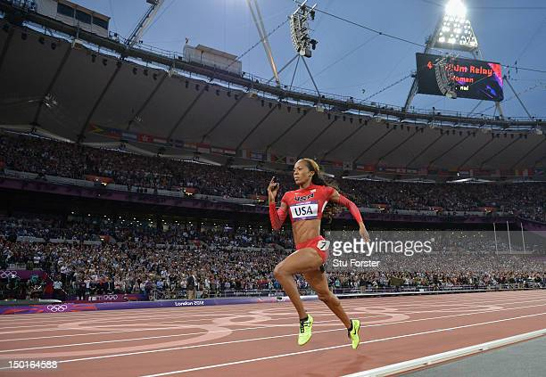 Sanya RichardsRoss of the United States approaches he finish line on her way to winning gold in the Women's 4 x 400m Relay Final on Day 15 of the...