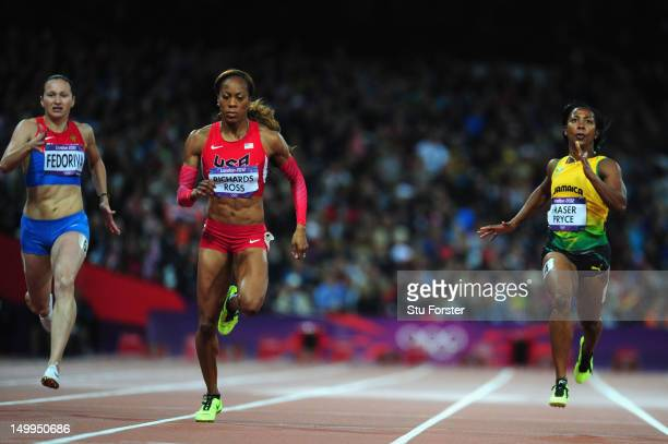 Sanya RichardsRoss of the United States leads Aleksandra Fedoriva of Russia and ShellyAnn FraserPryce of Jamaica in the Women's 200m Semifinals on...