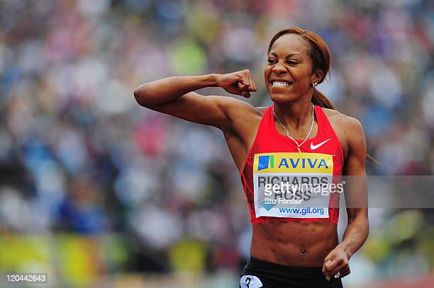 Sanya Richards-Ross of the United States of America celebrates winning the Womens 400m final during the Aviva London Grand Prix at Crystal Palace on...