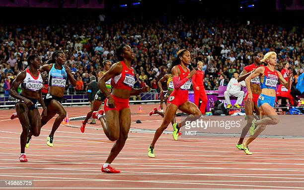 Sanya RichardsRoss of the USA center right heads into the final stretch of the women's 400m race at Olympic Stadium during the 2012 Summer Olympic...