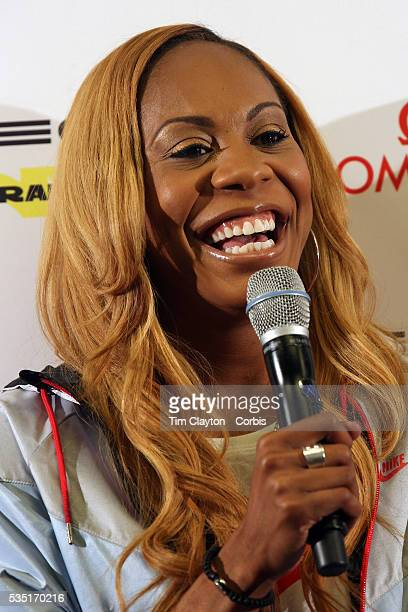 Sanya RichardsRoss USA talking with the media at the Adidas Grand Prix Press Conference Hyatt Grand Central New York ahead of he Adidas Grand Prix at...