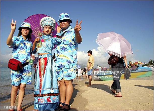 Sanya the Hawaii of China in April 2006Chinese tourists enjoy the beach at Yalong bay in Sanya on Hainan islandprovince in the extreme south of China...