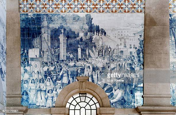sao bento train  station in porto, portugal - traditionally portuguese stock pictures, royalty-free photos & images
