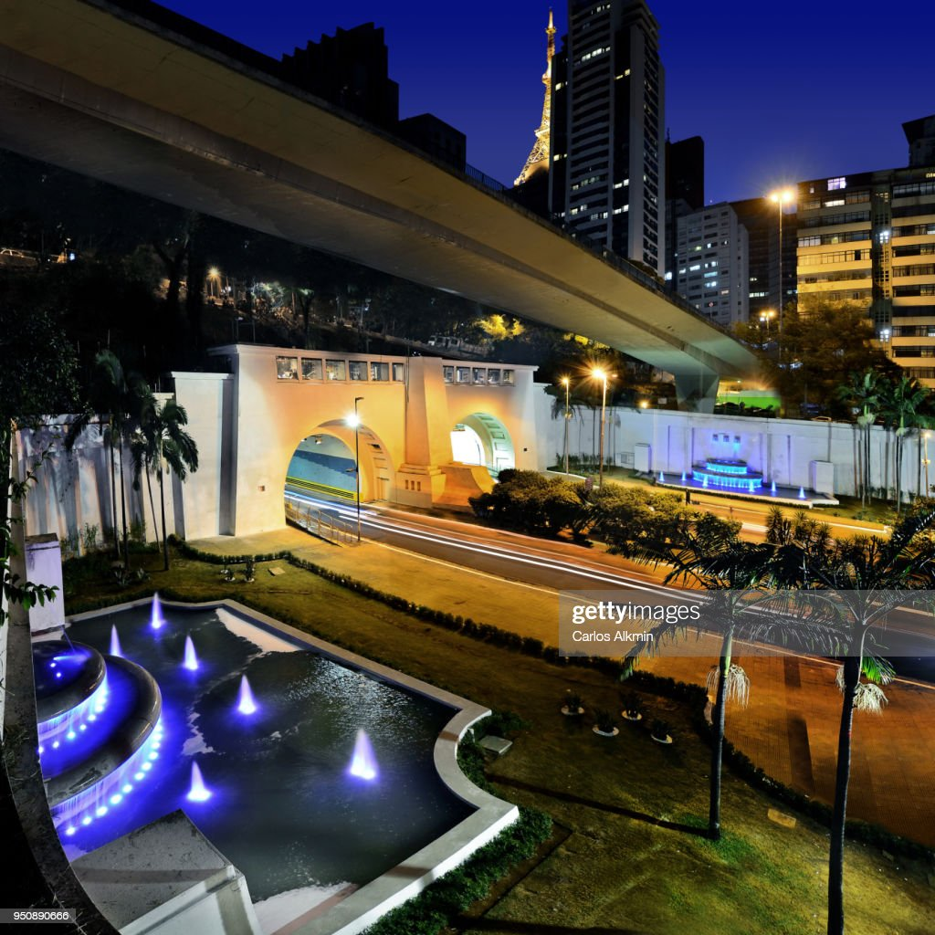 Sao Paulo - 9 de Julho Tunnel and luminous fountains : Stock Photo