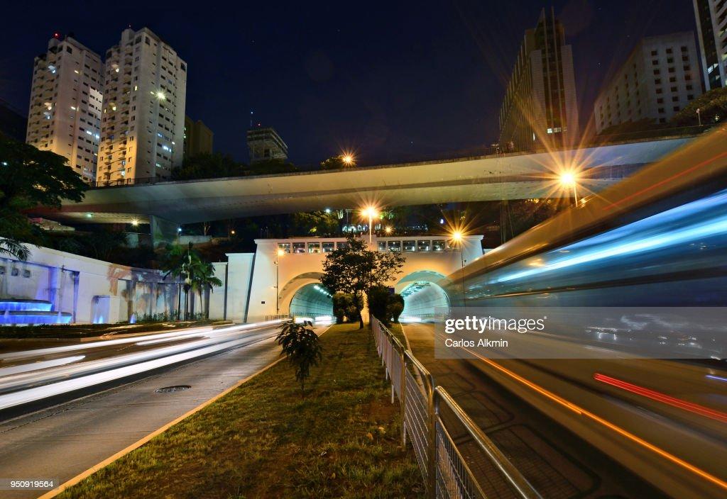 Sao Paulo - 9 de Julho Tunnel and traffic : Stock Photo