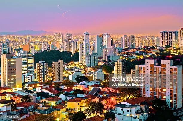 sao paulo and night lights - são paulo city stock pictures, royalty-free photos & images