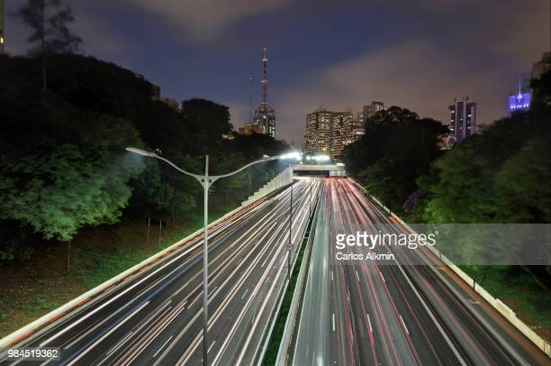 Sao Paulo, Brazil - 23 de Maio avenue fast traffic at night