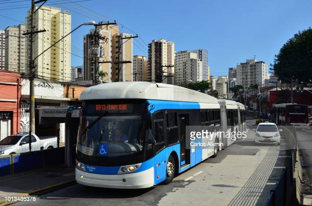 Sao Paulo, Brazil - an aspect of transportation infrastructure: bus only lane