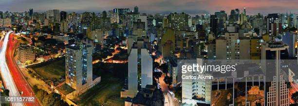 Sao Paulo, Brazil - Bela Vista district at night, featuring East-West connection expressway