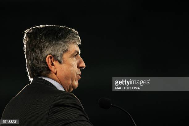 Cesar Gaviria former Colombia's President and Secretary General of the Organization of American States delivers a speech during a seminary in Sao...